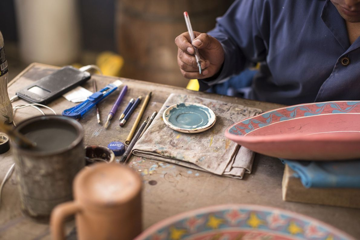 Painting a small plate