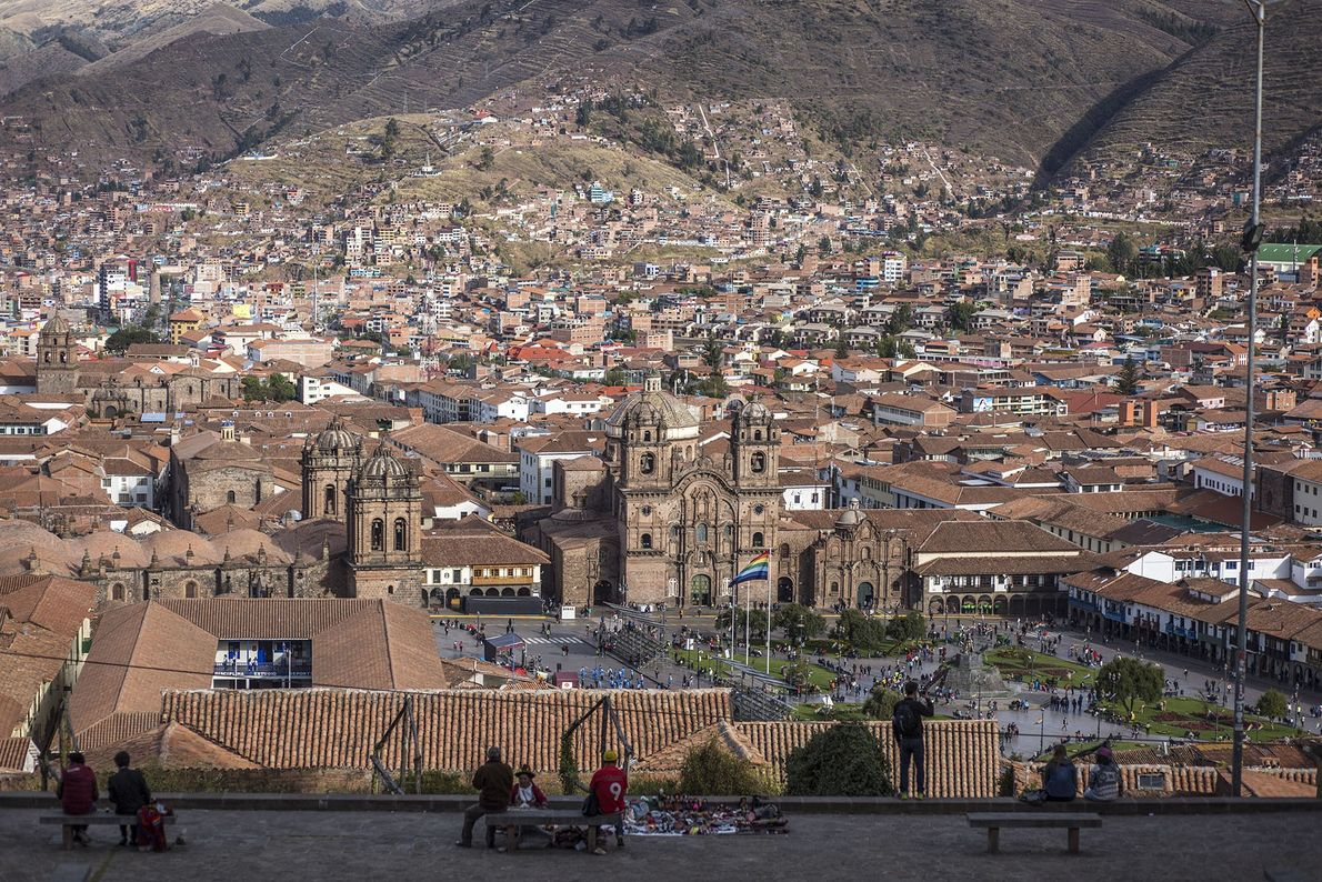 Aerial view of a town in the Sacred Valley