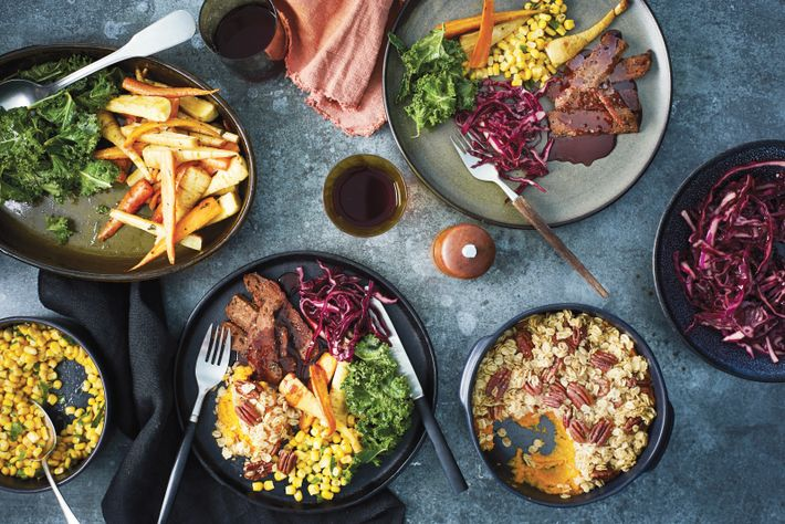 Henry Firth and Ian Theasby's latest vegan cookbook, Speedy Bosh!, features a plant-based roast, including pan-fried seitan ...