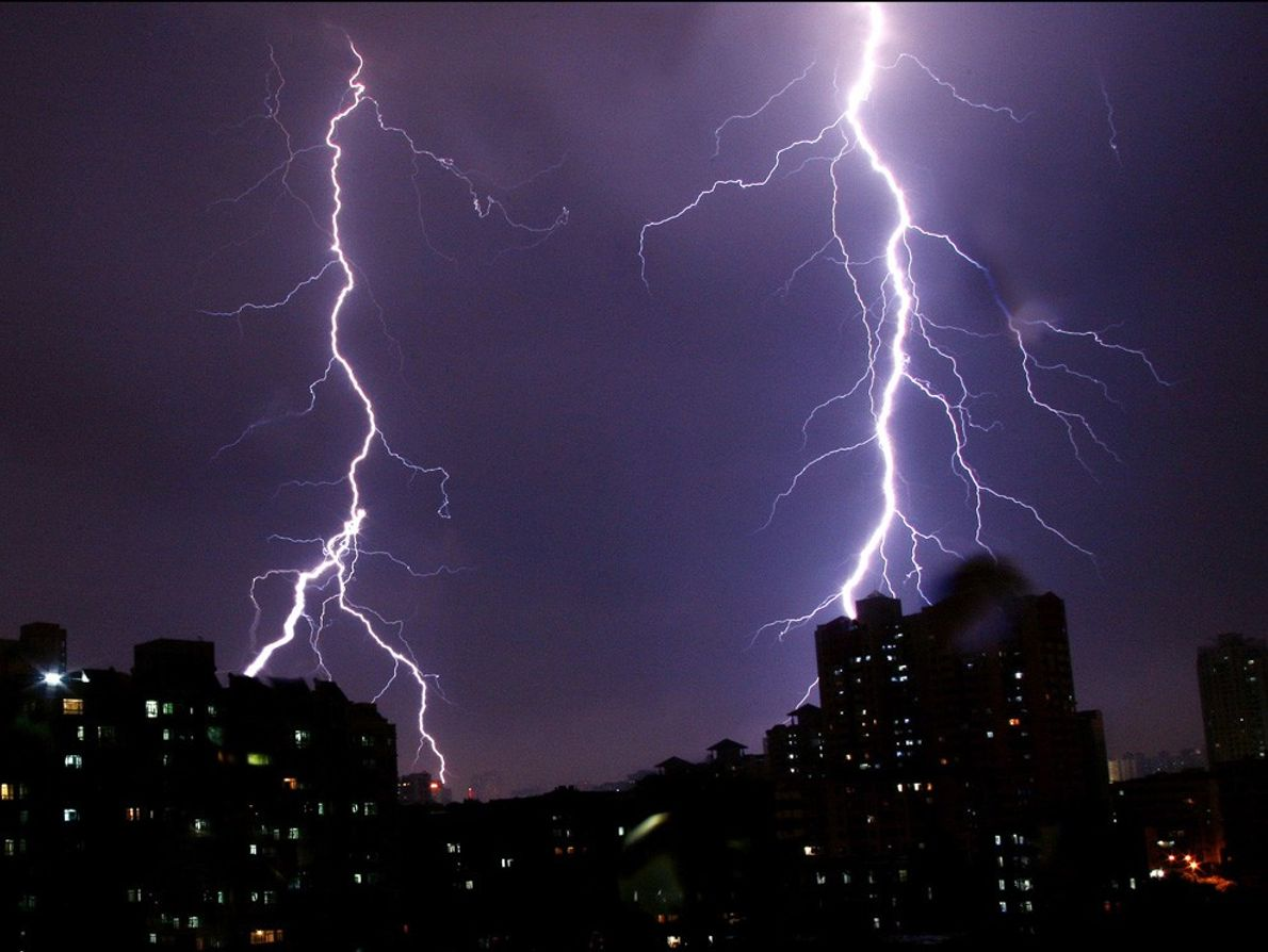 Foshan, China, is hit by two simultaneous lightning strikes.