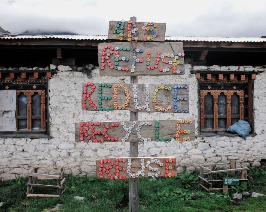 Laya children built this sign as a school project. From a young age, children are imbued ...