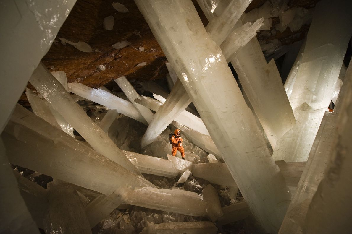Massive beams of selenite dwarf an explorer in the Cave of Crystals. The few people who ...