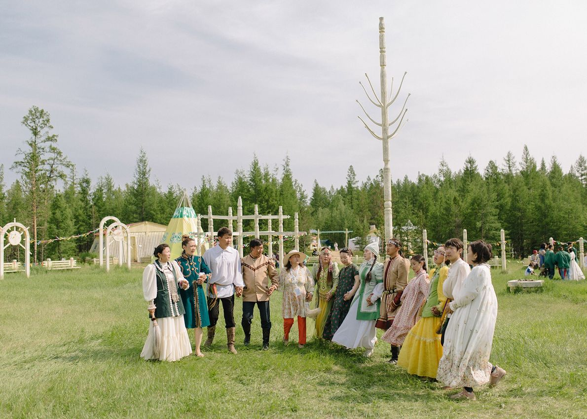 People dance osuokhay, the Yakut national dance that takes places after the opening prayer, at a ...