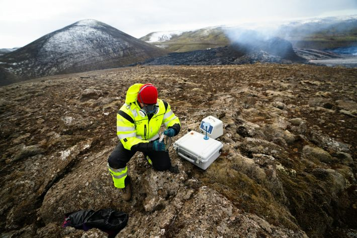 Icelandic Search and Rescue (ICE-SAR) team members monitor the surrounding area for leftover visitors. The legendary ...