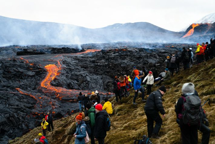 Thousands of visitors hiked out to the Fagradalsfjall volcano to witness the aftermath of its March ...