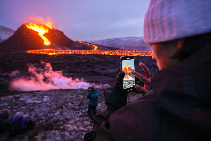 A tourist took a cell phone photo at the volcano in March 2021.