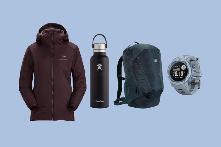 The prize: Arc'teryx hoody, Arc'teryx rucksack, a Garmin smart watch and a Hydro Flask