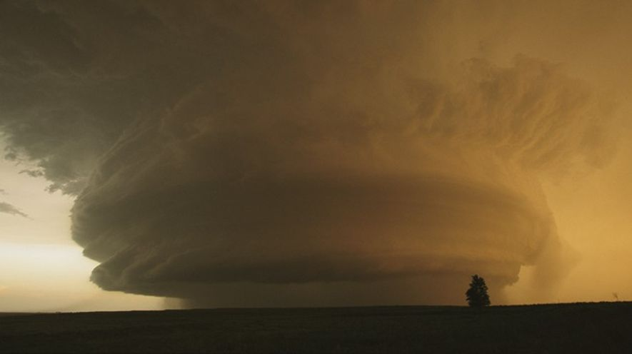 A rare mother ship cloud formation hovers over Childress, Texas. Tornado chasers there spent seven hours ...