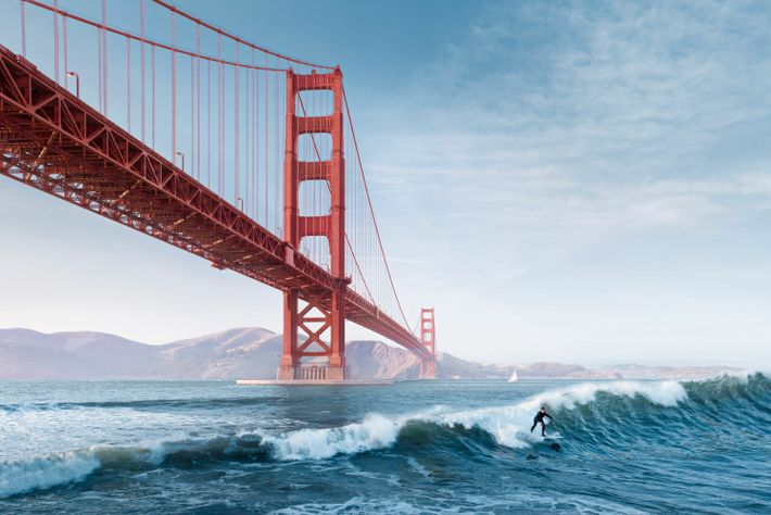 San Francisco's Golden Gate Bridge from the water.