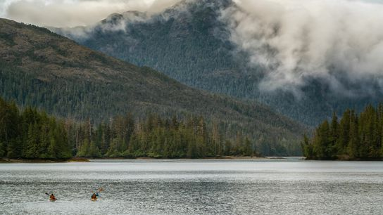 Sea kayaking in Haida Gwaii,a string of more than 150 weather-torn Pacific islands located some 60 ...