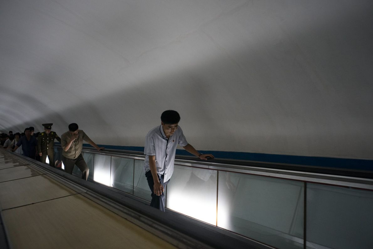 Commuters in the subway in Pyongyang.