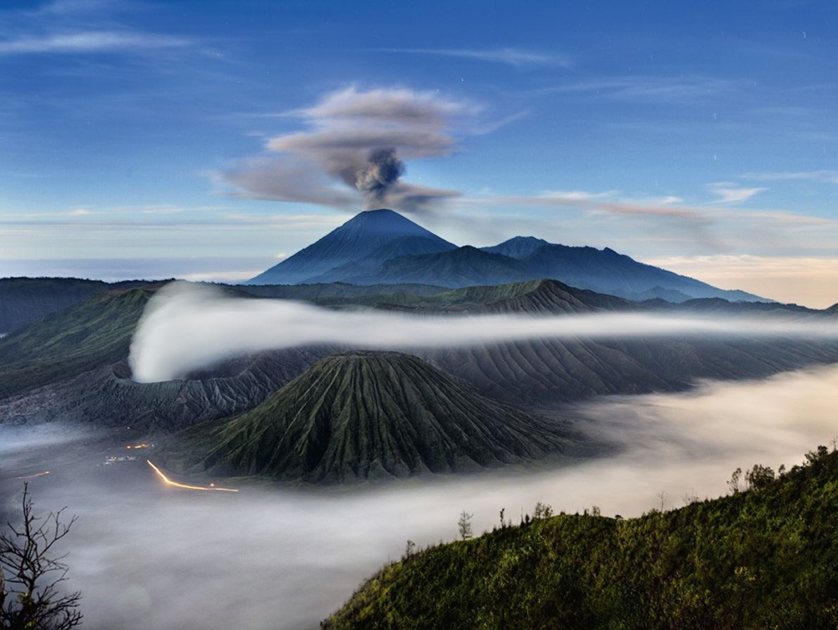 Mount Semeru, seen with an ash plume, is the highest volcano on the  Indonesian island ...