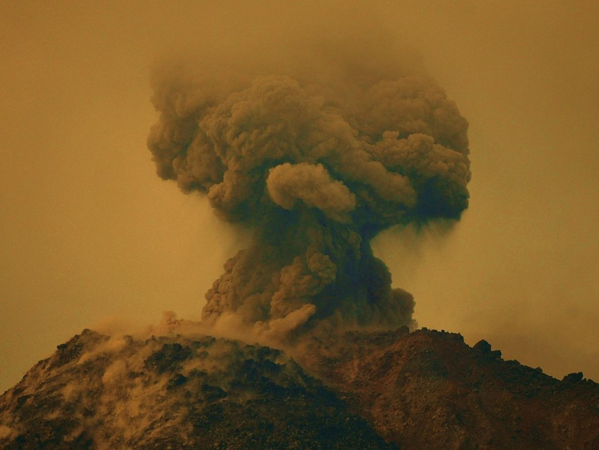 The Arenal Volcano in Costa Rica erupts suddenly in February 2010, turning the sky an ominous ...