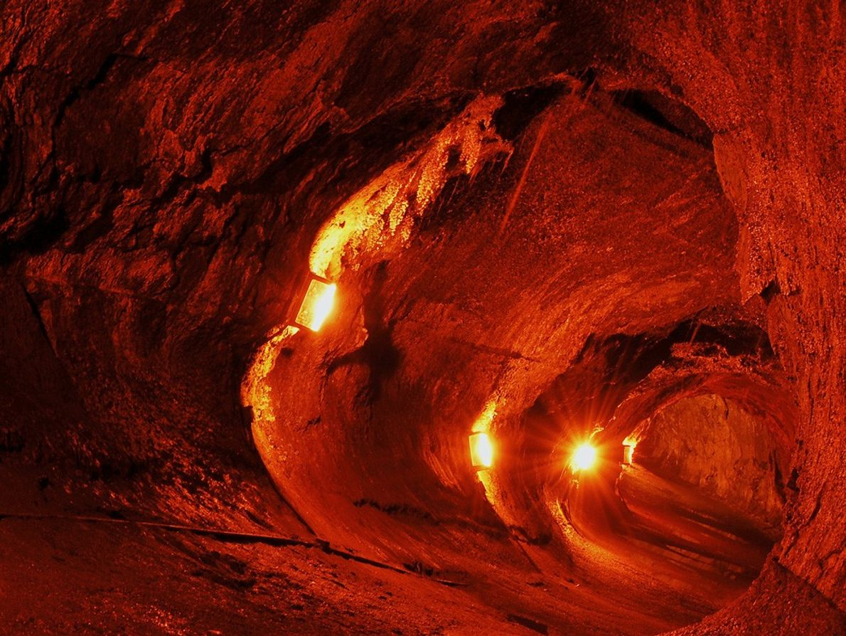 Lights illuminate the Thurston Lava Tube in the Hawaii Volcanoes National Park. Lava tubes serve as ...