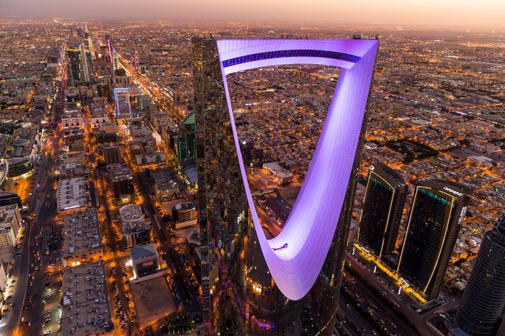 The 992-feet-high Kingdom Centre reflects its city: Riyadh, capital of Saudi Arabia, a kingdom built on ...