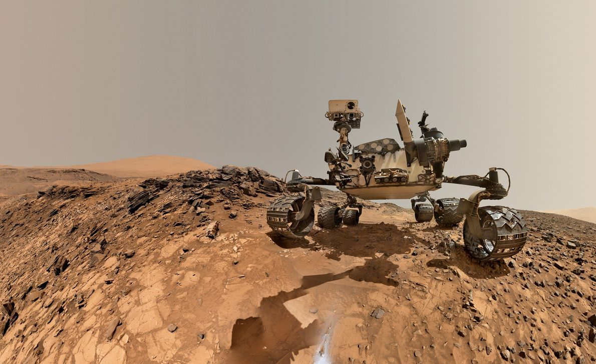 This selfie from NASA's Curiosity rover shows the vehicle at the site from which it reached ...