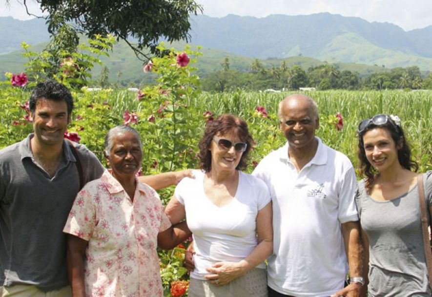Relatively speaking: Lisa and family in Fiji.