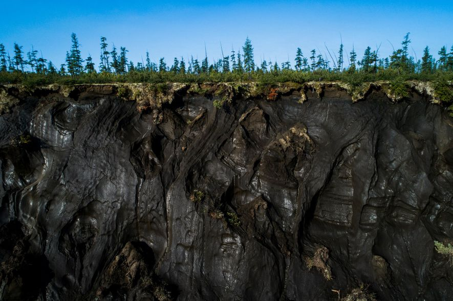 Permafrost can be seen up close along the perimeter of the Batagaika Crater.