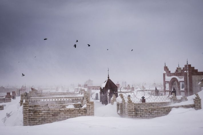 Birds fly over the cemetery on the outskirts of Semey during a winter storm.