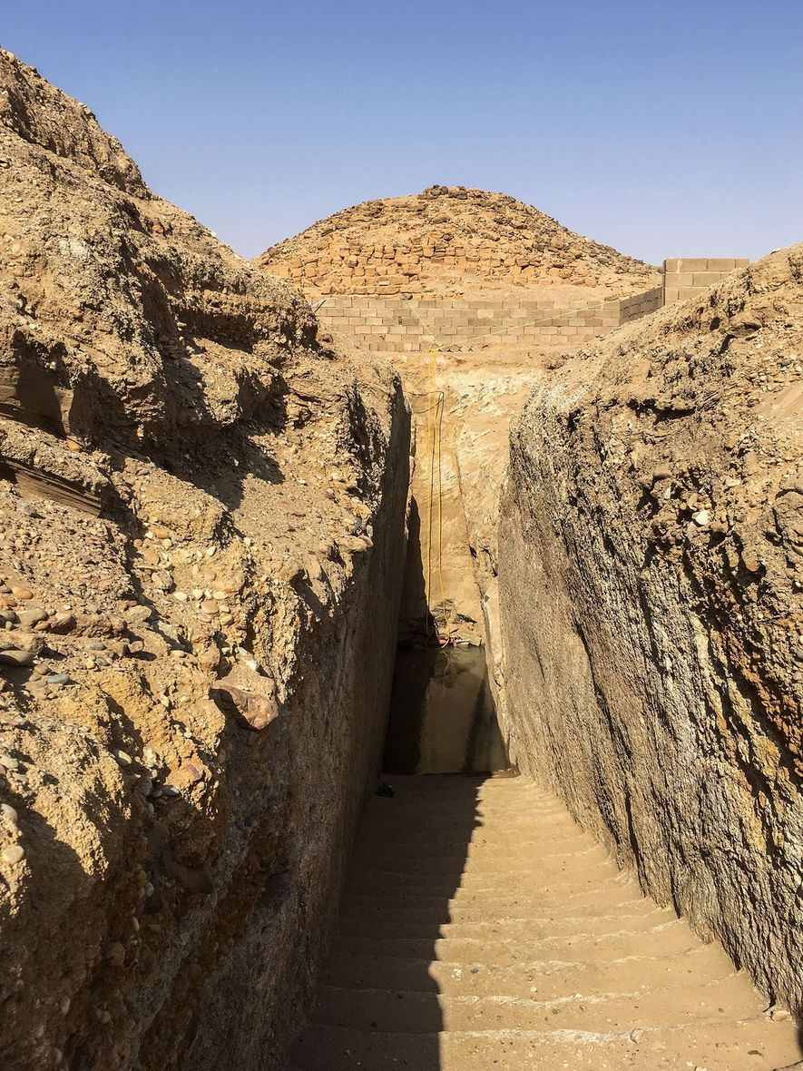 In order to access the tomb of pharaoh Nastasen, archaeologists had to excavate the processional staircase ...