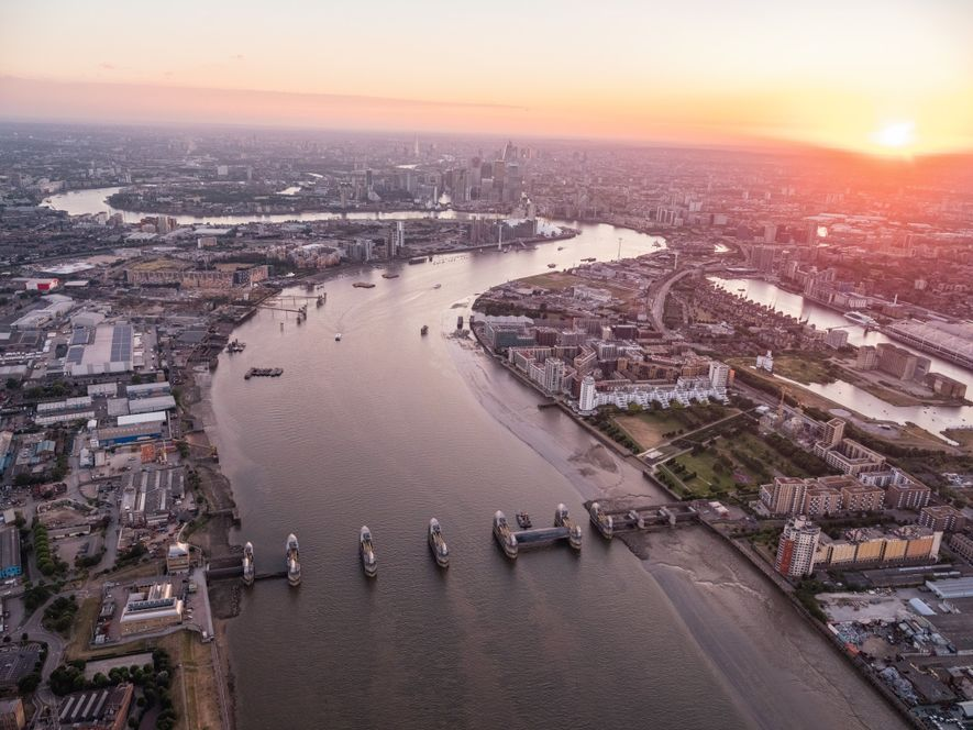About 10 miles downriver, the Thames Barrier protects central London from tidal flooding, storm surges, and ...