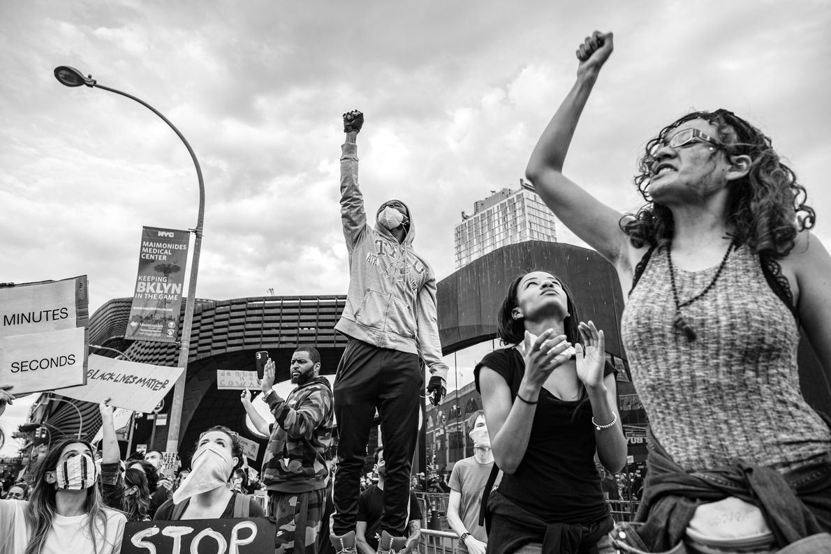 Black Lives Matters demonstrators congregate outside the Barclays Centre in New York City as they prepare ...