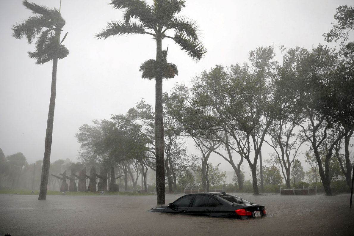 A partially submerged car is submerged in a flooded area in Miami, Florida as Hurricane Irma ...