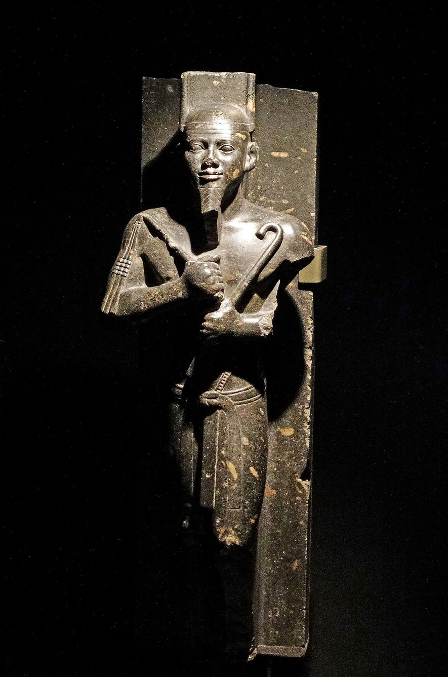 A statue of pharaoh Taharqa, who ruled all of Egypt in the seventh century B.C.