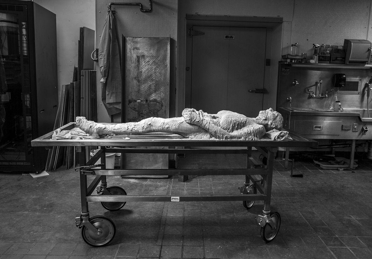 Encased in polyvinyl alcohol, Susan Potter's body awaits freezing.