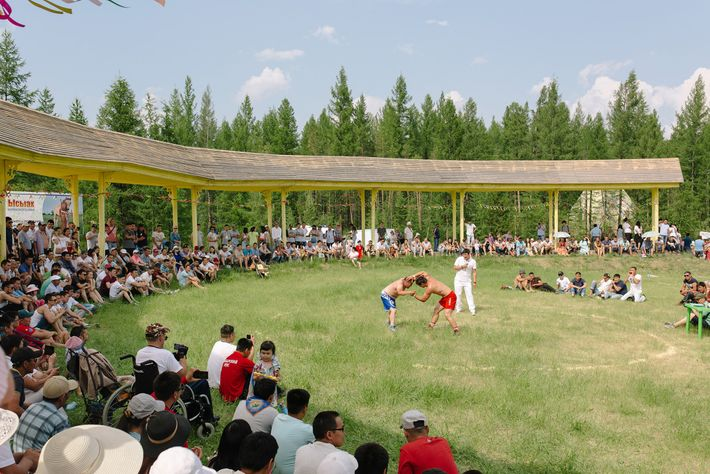 Wrestling is a popular sport, with clubs in many villages throughout Yakutia. Here, two competitors face ...
