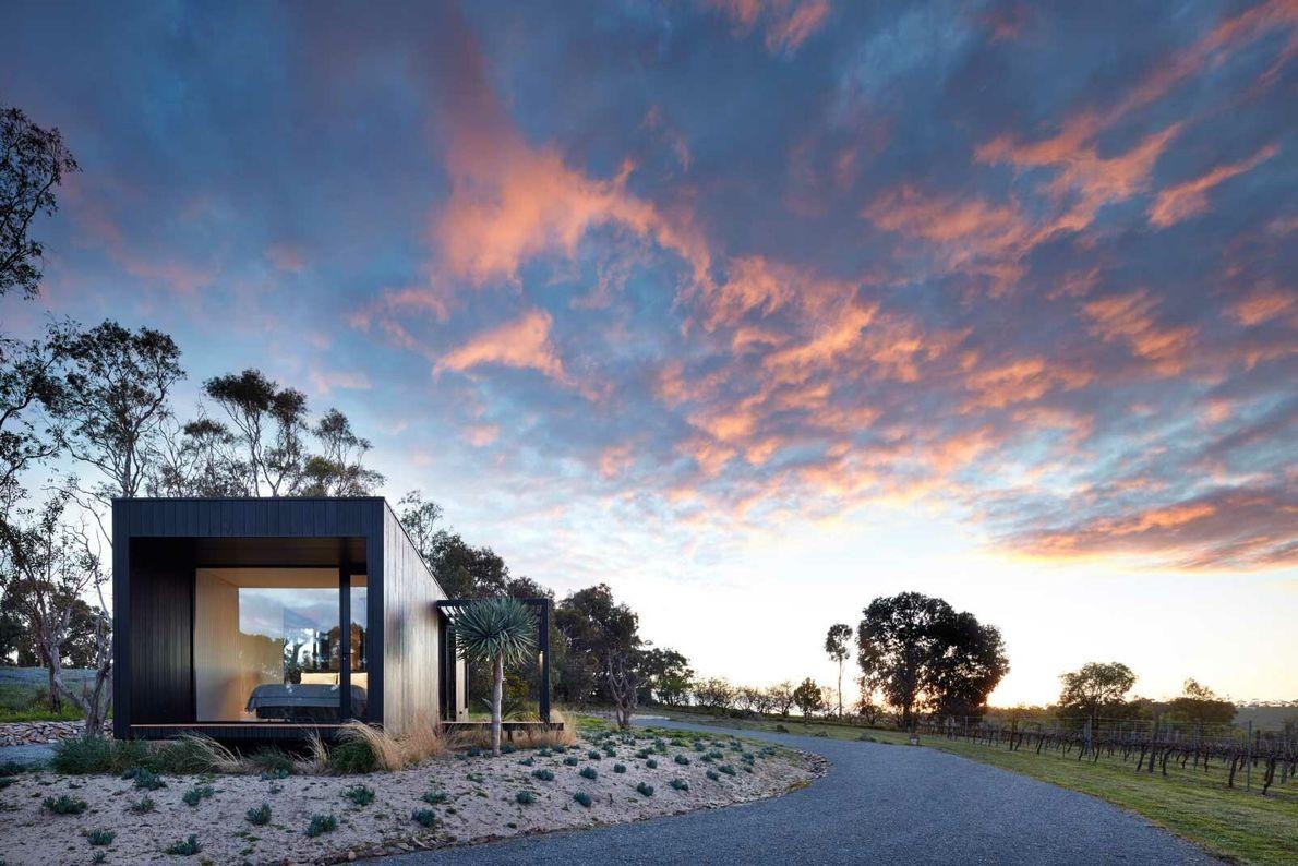 Accommodation at the Vineyard Retreat, sunset