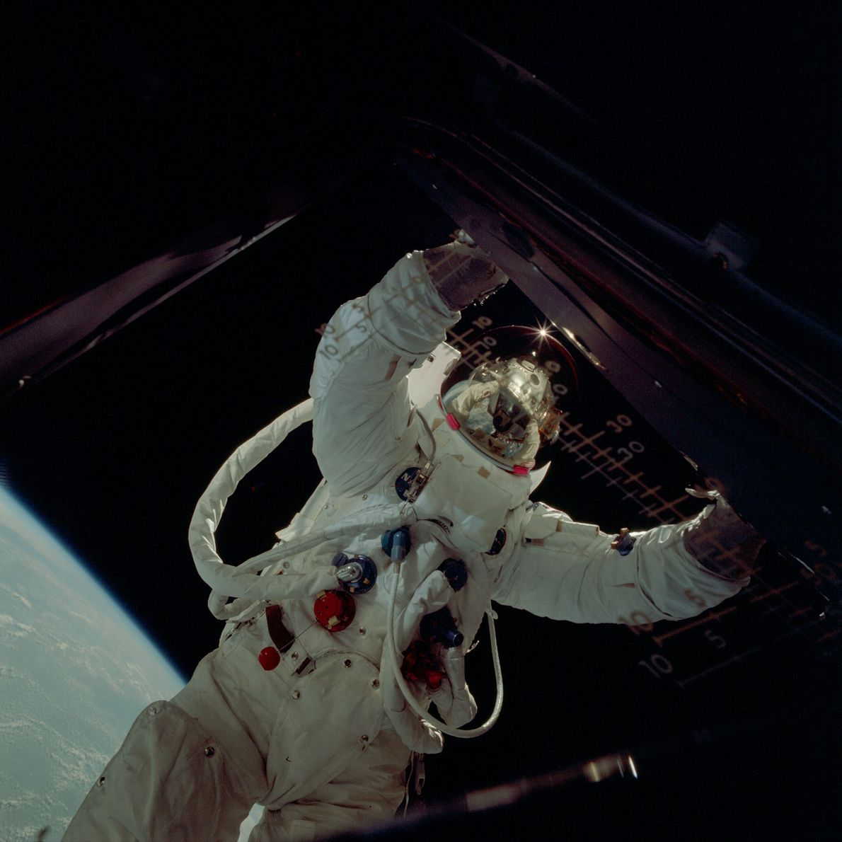 An Apollo astronaut on a spacewalk, photographed from inside the lunar module.
