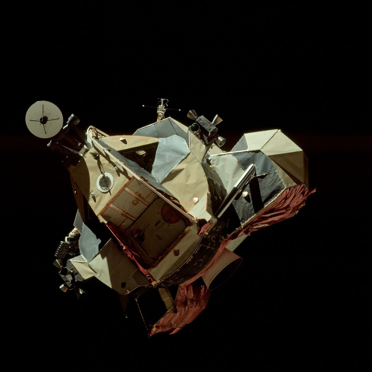 Apollo 17's lunar module, Challenger, taken from the command module during its ascent stage in lunar ...