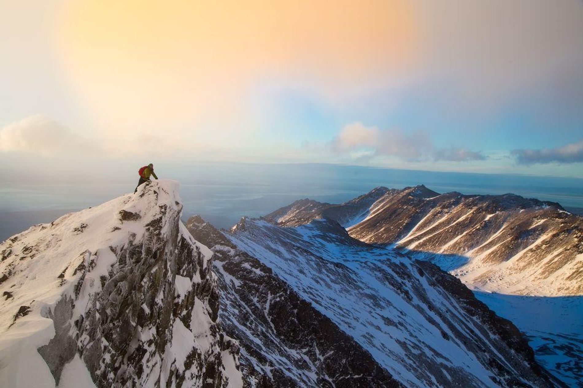 This photo was taken while coming down off of South Suicide Peak, Chugach State Park, Alaska. The conditions were prime. Both avalanche conditions and weather opened up in a way that allowed a burly summit in the middle of an Alaskan winter.