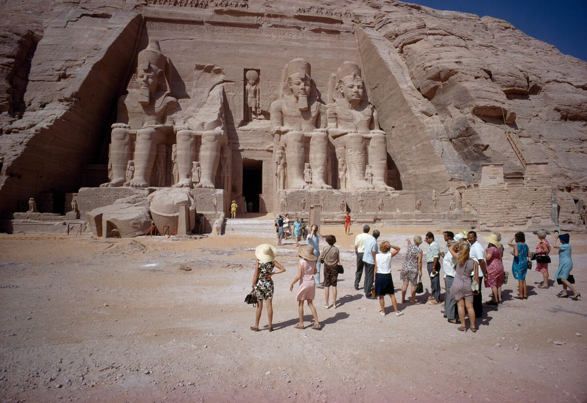 Picture of tourists looking at the Temple of Ramses II in Abu Simbel, Egypt