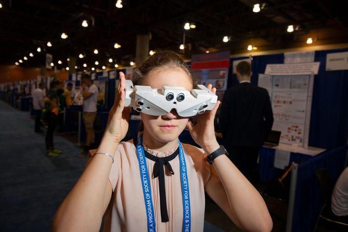 At the International Science and Engineering Fair in Anaheim, California, Russian high school student Inna Larina ...