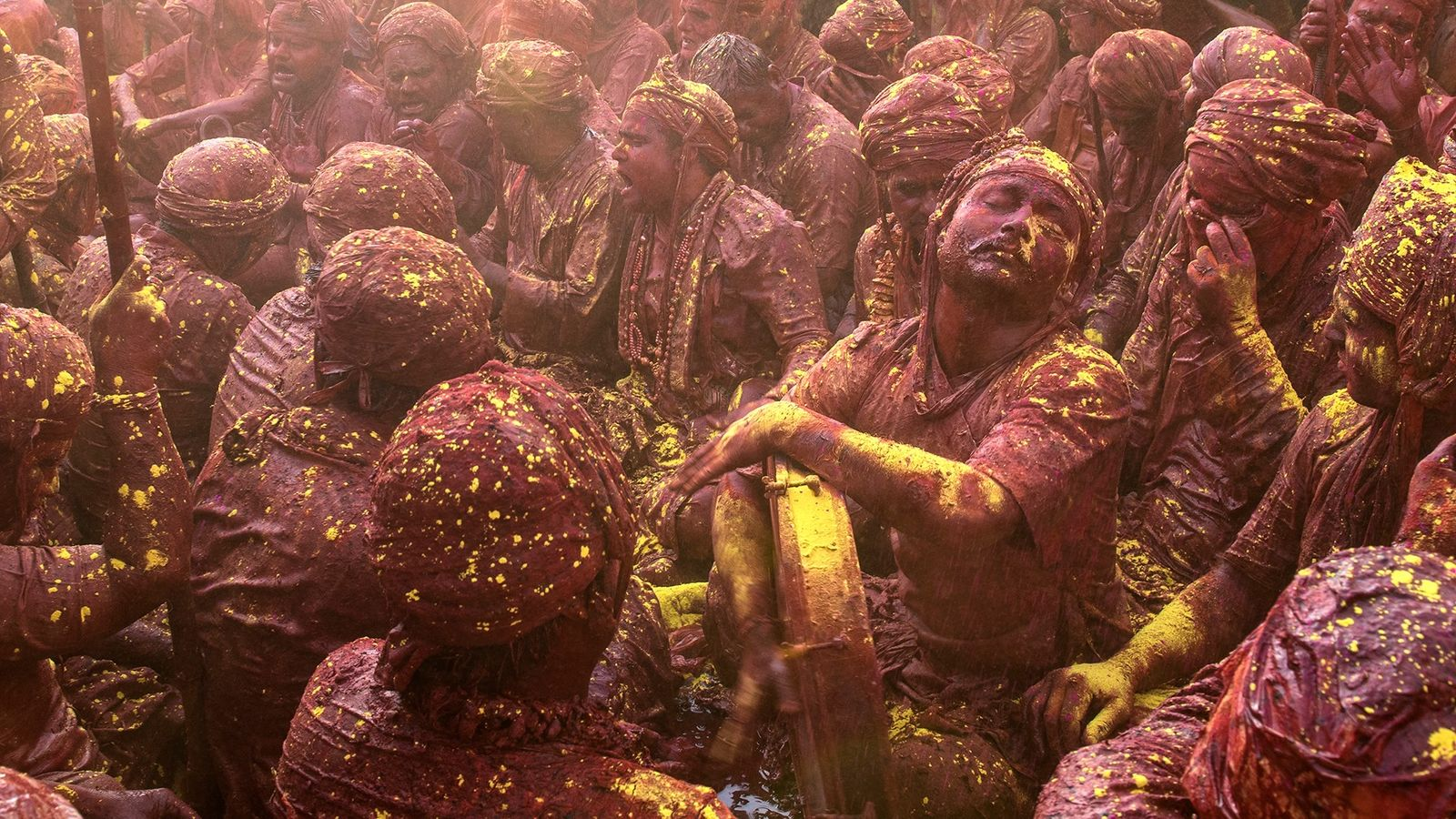 During Holi, traditional musicians from Barsana come to Sriji Temple, Nandgaon, to participate in a musical ...
