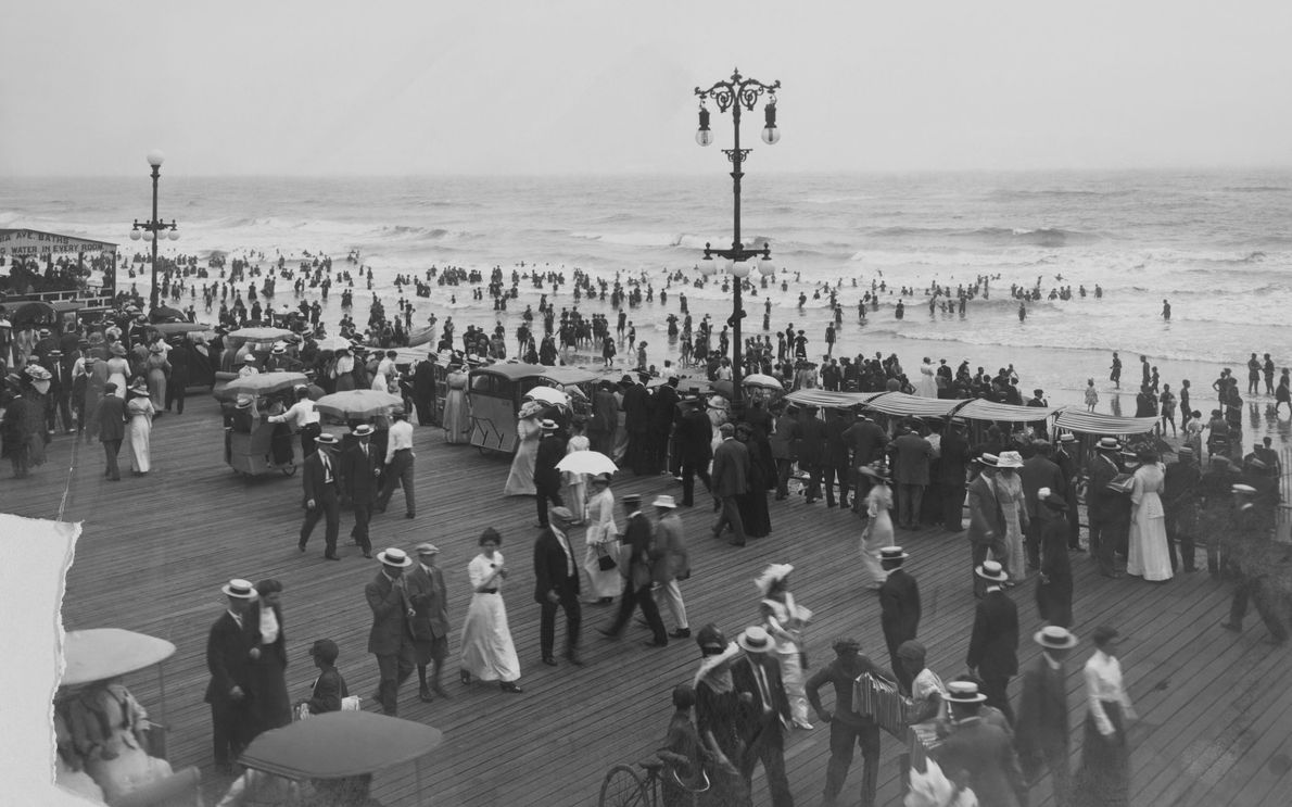 The Atlantic City boardwalk allows the perfect place to stroll and be seen.