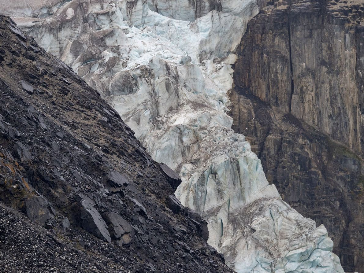 A glacier disintegrates in Norway.