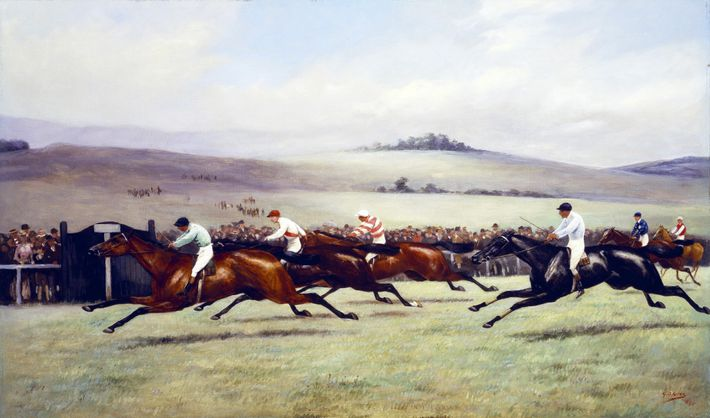 Before 1900, British jockeys rode their mounts upright, with long stirrups (pictured in an 1894 painting)—a ...