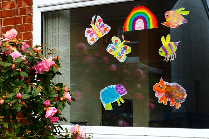 Children's drawings in a window in Southborough, Kent, April 2020. Around the country during the government-imposed ...