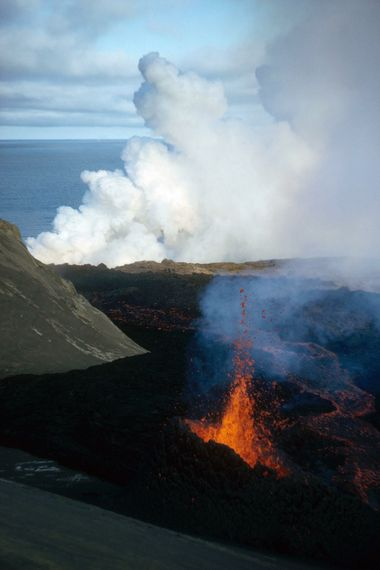 Surtsey's volcanic activity is linked to the Iceland plume, a 'hotspot' of activity linked to the ...