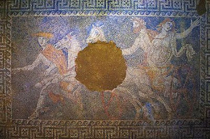A mosaic discovered last year inside an immense, marble-walled tomb near the ancient site of Amphipolis ...