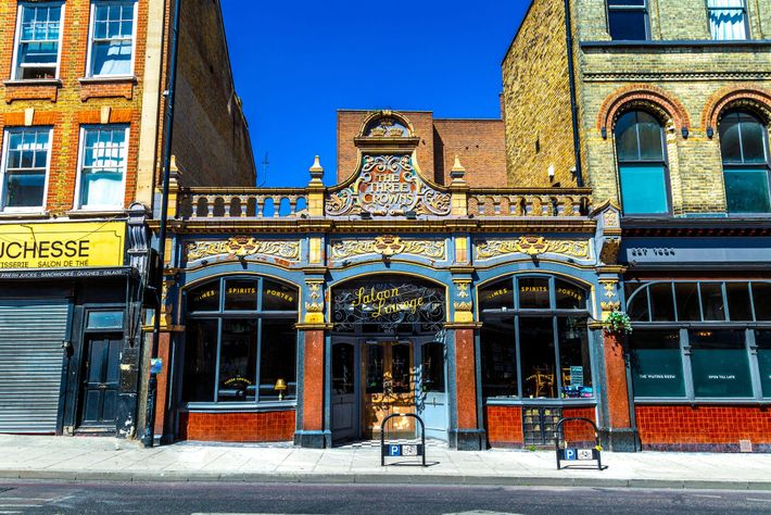 The Three Crowns pub sits beside the A10 road, which in this part of London becomes Stoke ...