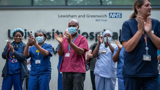 NHS University Lewisham Hospital nursing staff and workers gather outside for the ninth 'clap for our ...