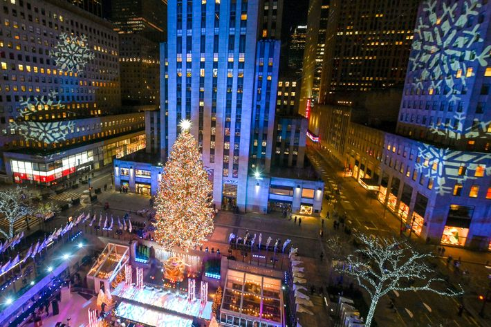 The Rockefeller Center Christmas Tree stands lit in New York. The 75-foot tall Norway spruce is ...