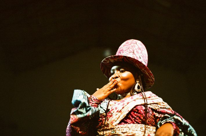 Francine blows a kiss to the audience at the fashion show in Bukavu.