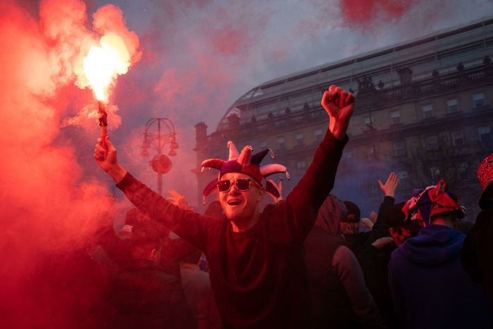 On 7 March 2021 supporters of Glasgow Rangers football club celebrated the team's win in large ...