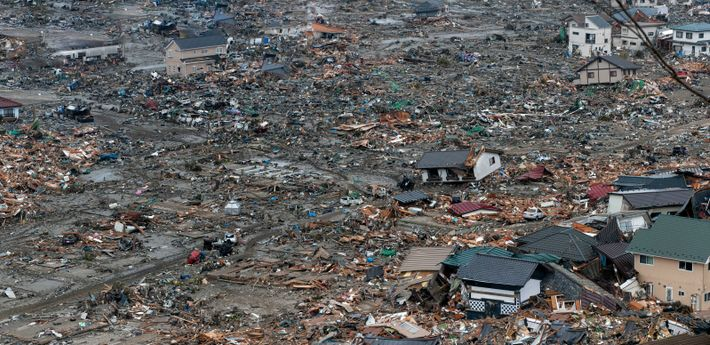 An image showing the devastation of the 2011 tsunami in Ishinomaki City, Miyagi Prefecture, two days ...