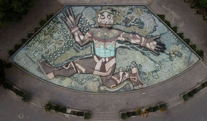 A view of Diego Rivera's fountain of the Aztec rain god Tlaloc